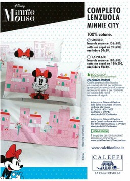 Minnie City Disney completo lenzuola